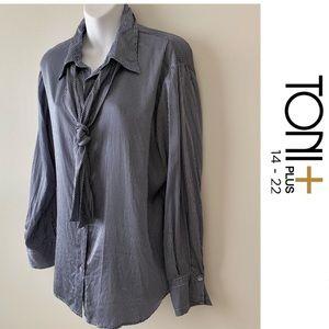 Toni + Blouse 100% Silk size 14 Button Down Shirt